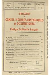 Bulletin du comité d'études historiques et scientifiques de l'AOF - Tome 08 - n°4 - Octobre-Décembre 1925 (BCEHSAOF)