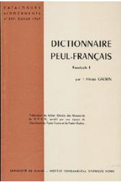 Henri Gaden - Dictionnaire Peul-Français. Fascicule I