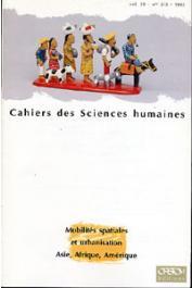 Cahiers ORSTOM sér. Sci. hum., vol. 29, n° 2-3, DUPONT Véronique, GUILMOTO Christophe Z. (éditeurs scientifiques) - Mobilités spatiales et urbanisation. Asie, Afrique, Amérique