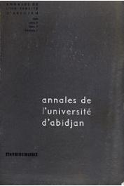 Annales de l'Université d'Abidjan Série F, Tome 1, fasc. 1.