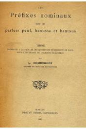 HOMBURGER Lilias - Les préfixes nominaux dans les parlers peuls, haoussa et bantous
