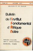 Bulletin de l'IFAN - Série B - Tome 39 - n°4 - Octobre 1977