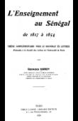 HARDY Georges - L'enseignement au Sénégal de 1817 à 1854